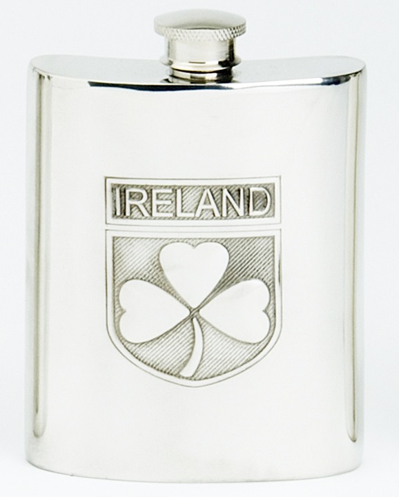 Hip Flask Ireland Shamrock Badge