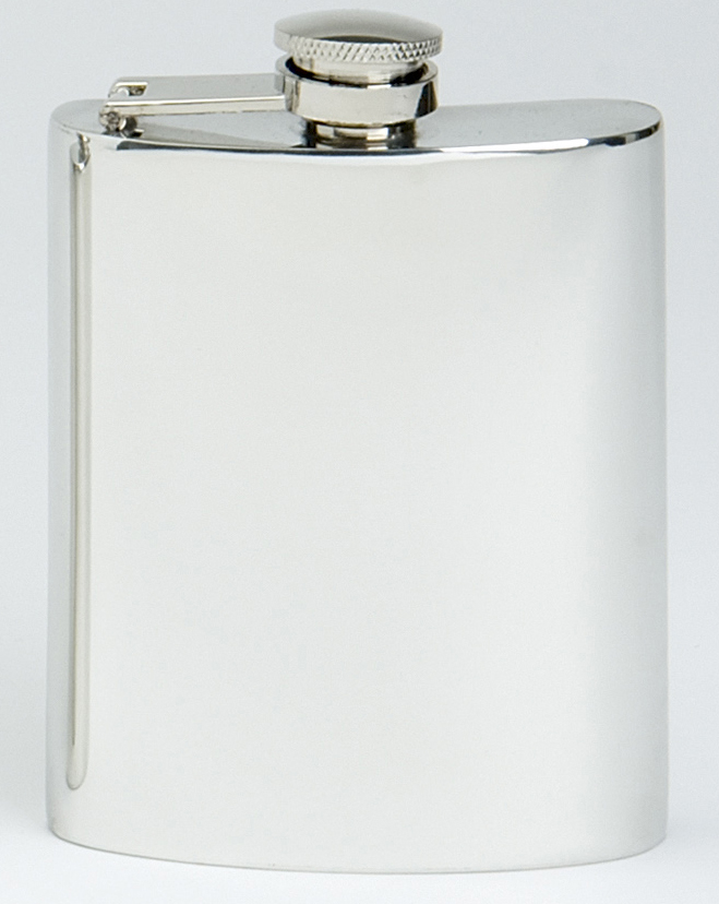 Captive Top Hip Flask Pewter. All our Pewter Flasks are presented in a gift box including a silky draw-string bag for protection.