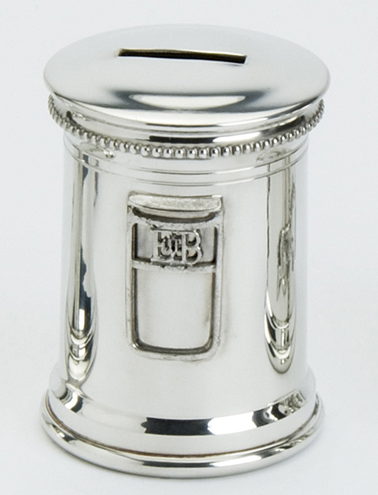 Money Box Post Box Pewter. This beautiful money box has been design on a Post box and has a lookalike GPO badge.