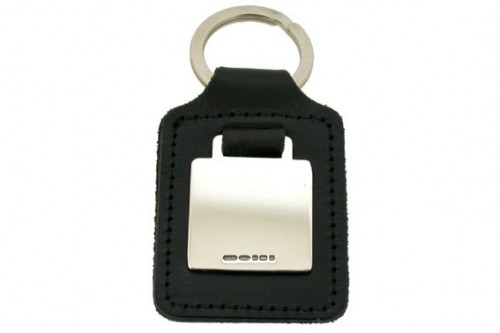 Square Silver Keyring Leather Fob
