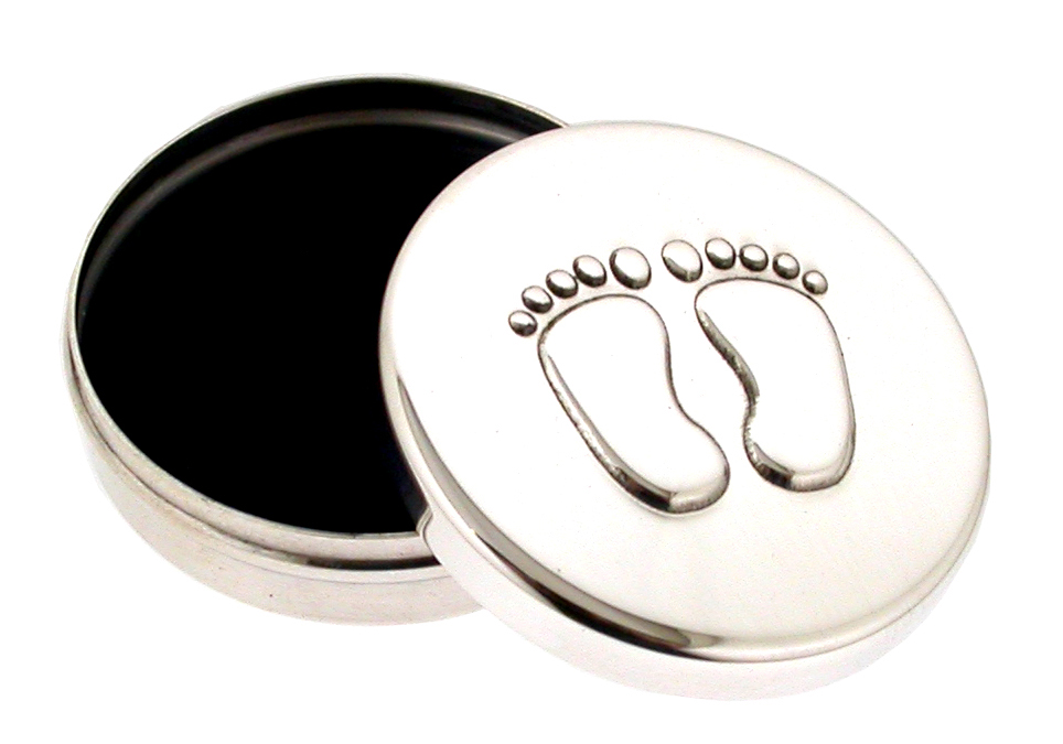 Silver Tooth Box Curl Box Baby Feet. the silver boxes have a pair of little baby feet embossed on the lid. the curl box is 4 cm and the tooth box is 2.5 cm in diameter. Fully hallmarked