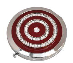 Handbag Mirror Round Burgundy Crystals. It has a small push button on the side for opening and could be engraved underneath.