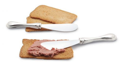 Butter Pate Knives. Two elegantly shaped small knives for either spreading butter, cheese, or pate.