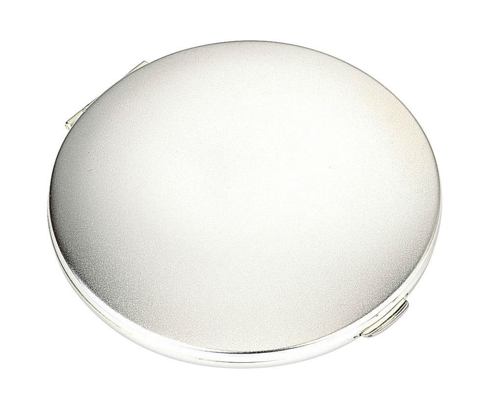 Powder Compact Plain Matt. The Silver Plated Powder Compact measures approx. 81 millimetres in diameter and is suitable for engraving a name or logo.